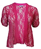 Womens Floral Lace Short Turn Up Cuff Sleeve Ladies Waterfall Front Open Cardigan Top Plus Size Cerise Size 22 - 24