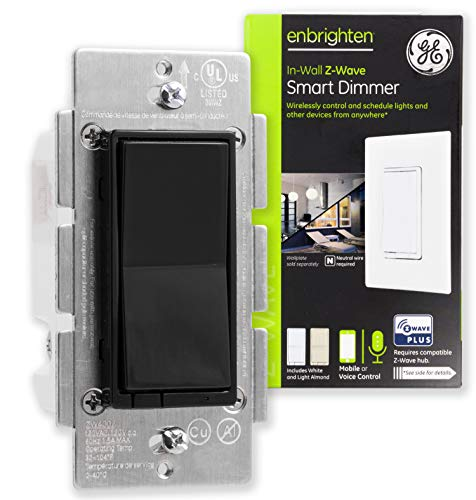 (GE Enbrighten Z-Wave Plus Smart Dimmer Switch, Full Dimming, in-Wall, Black Paddle, Repeater/Range Extender, Zwave Hub Required, Works with SmartThings, Wink, Alexa, 35543, White & Light Almond)