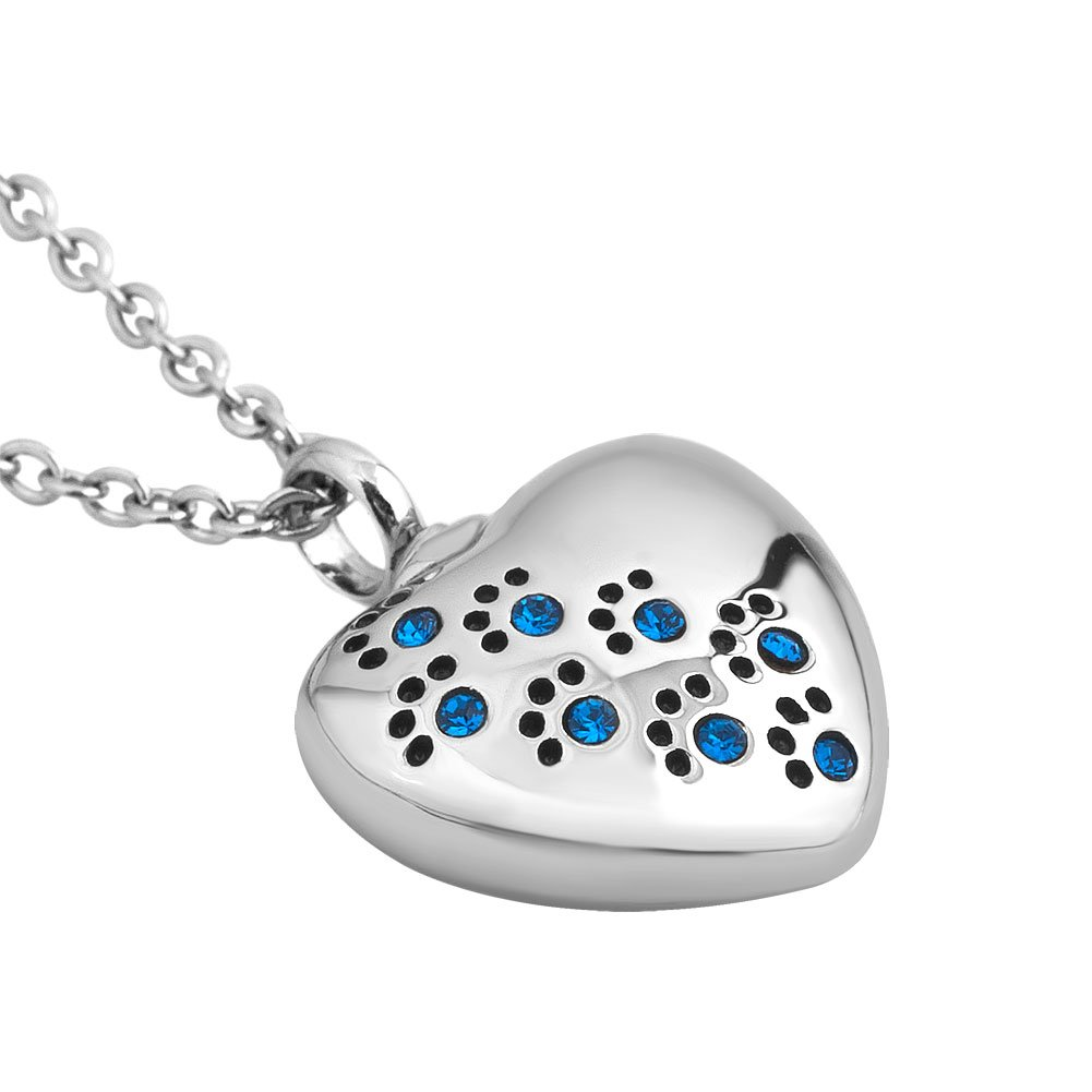 Q&Locket Heart Love Dog Paw Print With Stainless Steel Urn Necklaces For Ashes (Blue) by Q&Locket (Image #3)