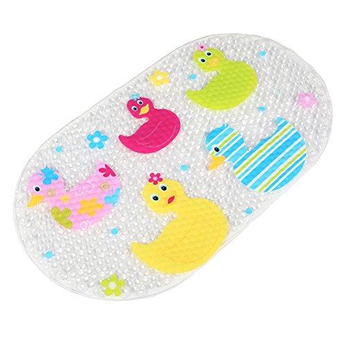 BliGli® Rutschfeste Wanneneinlage Anti-Rutsch Badewannenmatten PVC Karikatur Entwurf Massage Dusche Badematte mit Saugnäpfen für Baby Kinder 39 x 69 cm (Ducks)