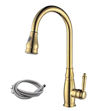 Kes Cupc Nsf Certified Brass Tall Kitchen Faucet Gold With Pull Down