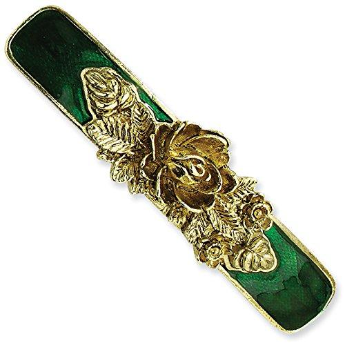 1928 Jewelry Brass-Tone Green Enamel Bar Flower Barrette from 1928 Jewelry