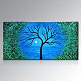 Seekland Art Handmade Abstract Tree Wall Deco Art Sunrise Landscape Oil Painting on Canvas No Frame 72''W x 36''H