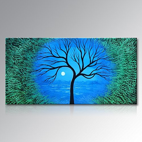 Seekland Art Handmade Abstract Tree Wall Deco Art Sunrise Landscape Oil Painting on Canvas No Frame 72''W x 36''H by Seekland Art