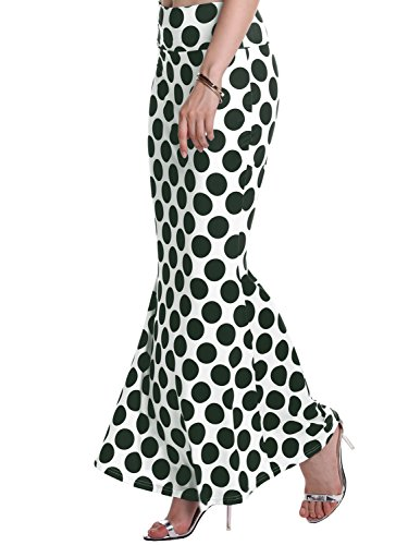 Florboom Womens Summer Tight Bodycon Polka Dotted Mermaid Skirt Dark Green XS