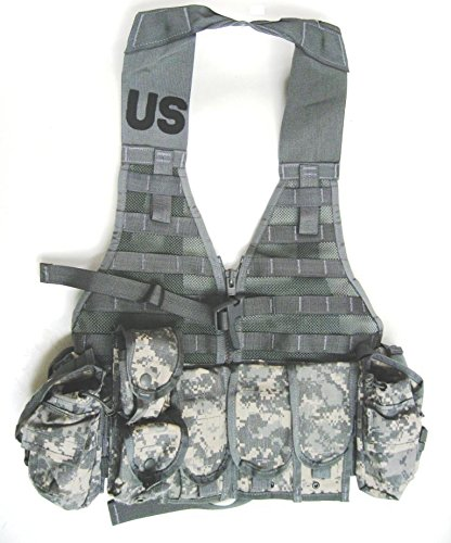 (New US Army Military Tactical ACU Digital Camouflage FLC LBV Molle II FIGHTING LOAD CARRIER VEST + 9 POUCHES (3 Double Mag, 2 Triple, 2 Canteen, 2 Hand Grenade) Rifleman Set Ammo Ammunition GI USGI)