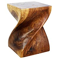 HAUSSMANN Brand Big Twist Stool 14x14x20 inch H Monkey Pod Wood in Eco-Friendly Livos Walnut Oil