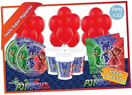 Eccolafesta - Lote para fiesta de cumpleaños de PJ Masks ...