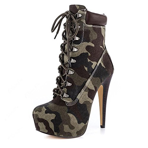 vet Studded Platform High Heel Pointed Toe Lace Up Ankle Boots (9.5 B(M) US, Dark Camouflage) ()