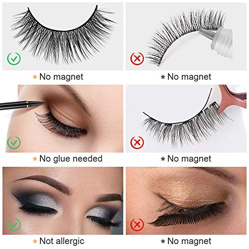 False Eyelashes, Magic Fake Eyelashes Set, Reusable False Lashes Kit with 3 Pairs of 3D False Eye Lashes, Sticky Liquid Eyeliner Pen, Eyelash Curler & Waterproof Mascara- Magnet Free & Glue Free