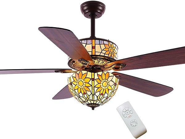 GaLon Luz de Ventilador de Techo, Lámpara de Techo con Ventilador Jardín Hoja de Madera Luz de Ventilador de Dormitorio silencioso Restaurante Simple Luz de Ventilador eléctrico (52 Pulgadas): Amazon.es: Hogar