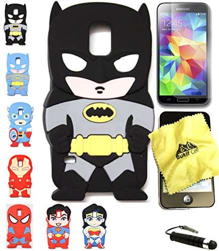 Bukit Cell 3D Superhero Bundle 4 Items: Batman Black Cute Justice League Cartoon Soft Silicone Case for Samsung Galaxy S5 V I9600 + Cleaning Cloth + Screen Protector + Metallic Stylus Touch Pen