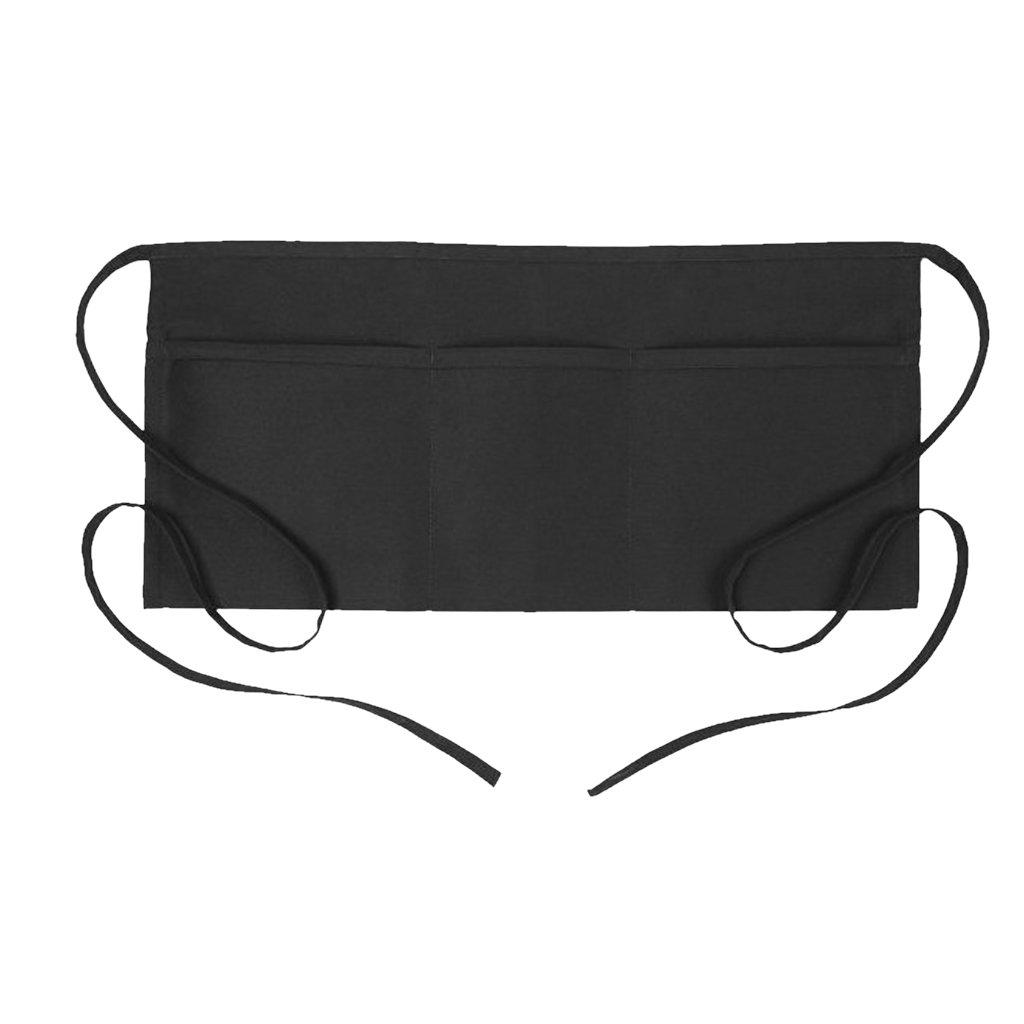 MagiDeal Mini Delantal Corto Negro Delantales de Cintura para Mujeres Hombres Cocinero P/âtissier