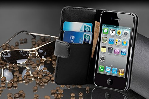Cadorabo - Funda Apple iPod TOUCH 5 Book Style de Cuero Sintético en Diseño Libro - Etui Case Cover Carcasa Caja Protección con Tarjetero en AZUL-BRILLANTE OXID SCHWARZ