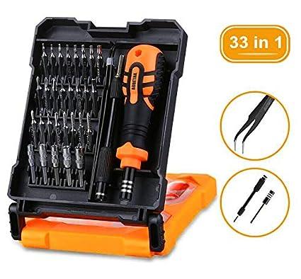 Destornilladores Precisión Movil, AOBETAK 33 en 1 Kit Herramientas de Reparacion Magnética Que Incluye Carraca/Estrella/Torx Destornillador para PC ...