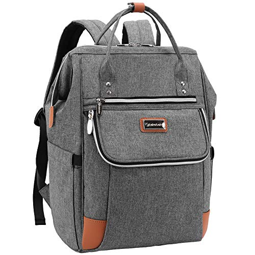 Lekebaby Backpack Diaper Bag Large Capacity Baby Diaper Bag for Mom, Grey
