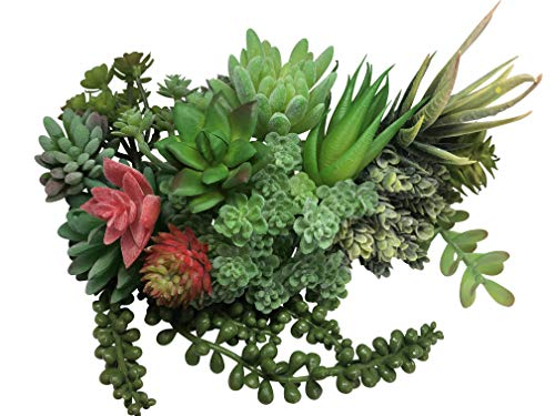Artificial Succulent Plants for Decoration |15 PCS DELUXE Green Fake Succulent | Assorted Fake Plants for Office, House, Apartment or Crafts | Faux Unpotted Succulent Plants with Realistic Look