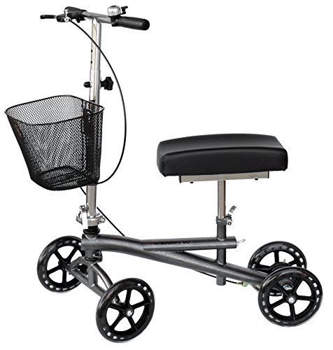 Knee Scooter Walker - w/Most Sought Features -Silver - Removable Basket, Non-Scuff...