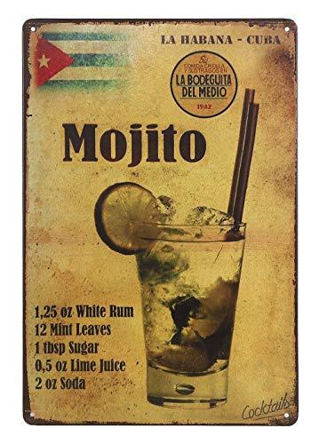 UNIQUELOVER Mojito La Habana-Cuba Drink Retro Vintage Metal Tin Signs Poster Wall Art Pub Bar Decor 12 X 8 -