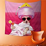 UHOO2018 Wall Hanging Tapestries Chihuahua Dog Relaxing and Lying in spa Wellness Center Large tablecloths 63W x 63L Inch