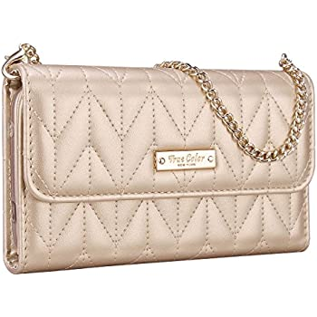 """iPhone 6 Plus Wallet Case, True Color [Night Out] Premium Chevron Quilted Pattern Wallet Wristlet Purse Clutch Case Cover for iPhone 6 Plus (5.5"""") - Gold"""
