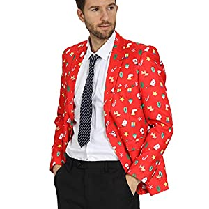 WEEN CHARM Mens Christmas Print Blazer Two Button Slim Fit Christmas Suit Jacket