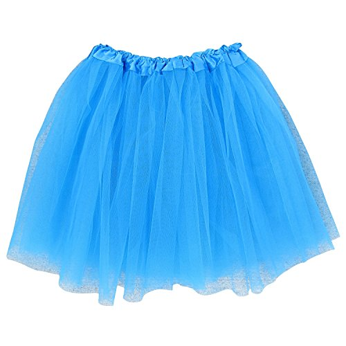 Adult Size 3-Layer Tutu Skirt - Princess Costume Ballet Party Warrior Dash/Run (Neon Blue),One Size]()