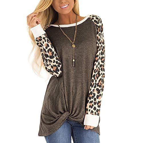 Amlaiworld Women Plus Size Blouse O-Neck Cotton Leopard Long Sleeve Tops Casual T Shirt Tunic Shirt (M, Brown)