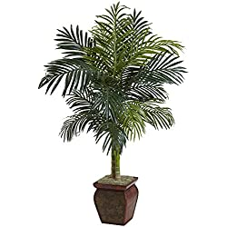 Nearly Natural 5937 Cane Palm with Decorative Container, 4.5-Feet, Golden