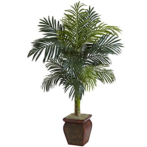 Palm Trees Island Home Decor - Nearly Natural 5937 Cane Palm with Decorative Container, 4.5-Feet, Golden