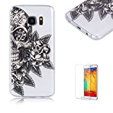 For Samsung Galaxy S7 Case [with Free Screen Protector], Funyye Fashion lovely Lightweight Ultra Slim Anti Scratch Transparent Soft Gel Silicone TPU Bumper Protective Case Cover Shell for Samsung Galaxy S7 -Flowers Skull