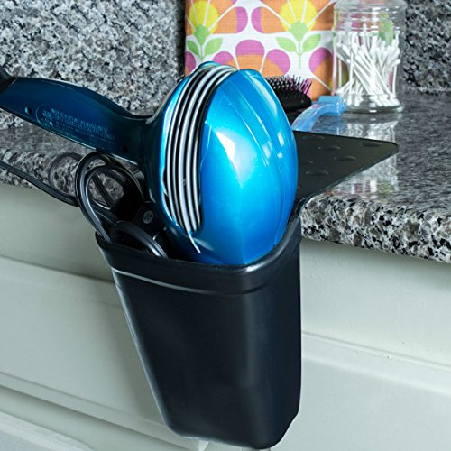 Hair Dryer Holder - Bathroom Storage Organizer for Blow Dryers, Hot Curling and Flat Irons - Heat Resistant Silicone Holster Clings to Counter - Prevents Burns (Flat Iron Cord Organizer compare prices)