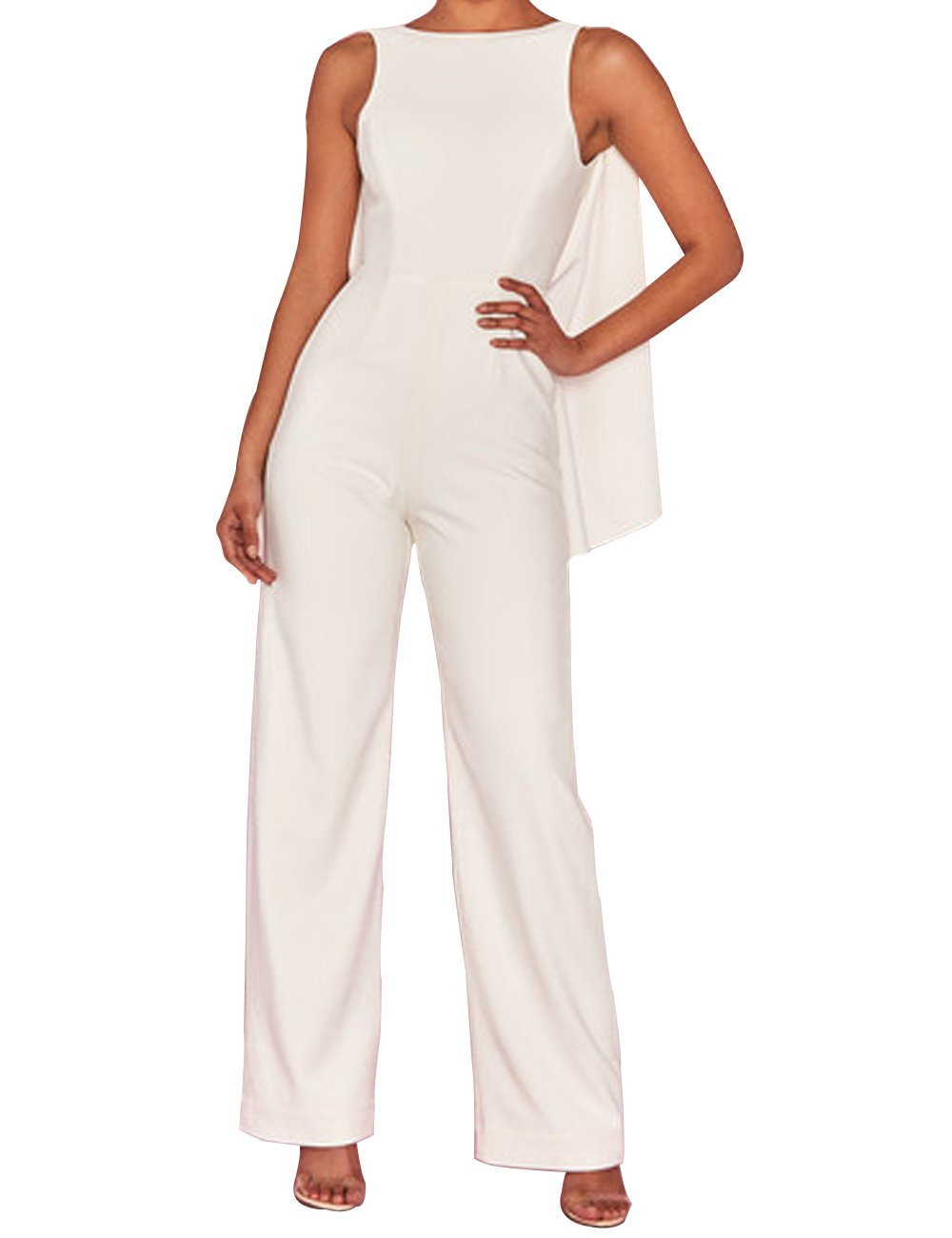 UONBOX Women's Elegant Open Back Sleeveless Wide Leg Long Pants Draped Jumpsuit Rompers (White, L)