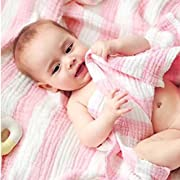 LCY Newborn Muslin Cotton Warm Baby Bath Towels Also for Baby Swaddle Blanket (Pink)