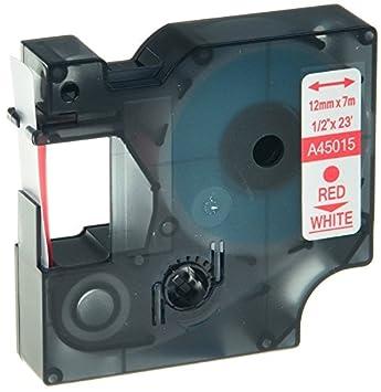 Prestige Cartridge Nastro per Etichette, Sostituisce 45015/S0720550, 12mm x 7m, 10 Pezzi, Rosso su Bianco Ten A45015