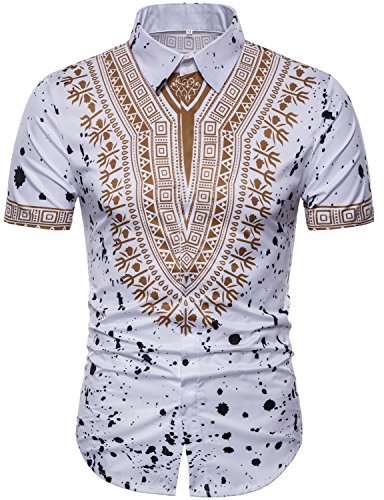 WHATLEES Mens Hipster African Tribal Dashiki Short Sleeve Slim Fit Casual Button Down Dress Shirts Tops T4990 White (Tribal Button Down Shirt)