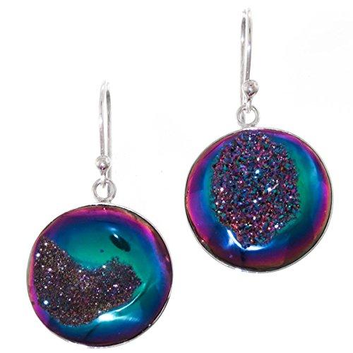 (Teardrop Rainbow Titanium Drusy 925 Sterling Silver Earrings, 13/16