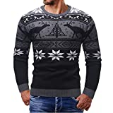 Longra Men Christmas Sweater Reindeer Print Pullover Knitted Tops Autumn Winter Casual Blouse(Black,L)