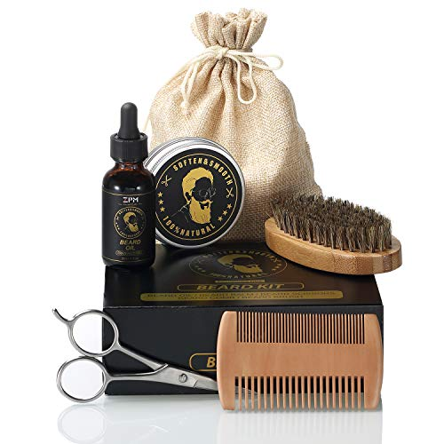 Beard Maintenance Kit for Facial Hair Grooming&Trimming-Beard Growth Oil& Moisturizing Balm, Beard Brush, Wood Comb, Barber Trimmer Scissors-Premium Gift Box