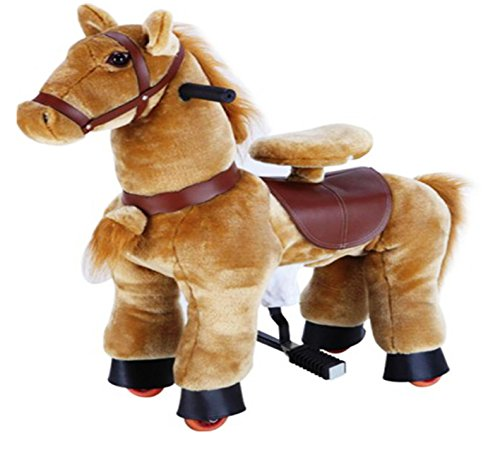 Golden Tan SMALL Trotting Action Horse Pony Ages 2-5 Boys & Girl Ride on Cycle Giddy Up Cowboy! by TODDLER TOYS by TODDLER TOYS
