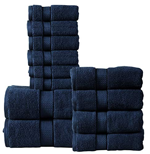 (550 GSM Ultra Soft 100% Combed ZERO TWIST Cotton 12-piece Towel Set (Navy Blue): 2 Bath towels, 4 Hand towels, 6 Washcloths, Long-staple Cotton, Spa Hotel Quality, Super Absorbent, Machine Washable)