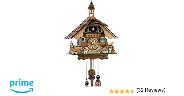 Reloj de cuco de la Selva Negra de madera auténtica con mecanismo de cuarzo a pilas y llamada de cucú - oferta de Uhren-Park Eble - casa de la Selva Negra ...
