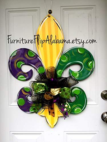 Mardi Gras wreath,fleur de lis door hanger -