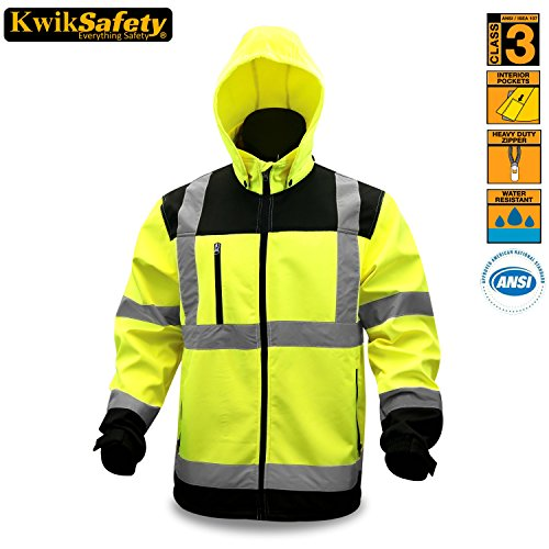 KwikSafety Class 3 High Vis Soft Shell Safety Jacket | ANSI Certified Reflective Coat | Construction, Motorcycle, Running | Water Resistant Zipper & Detachable Hood for Men and Women | Yellow 2XL