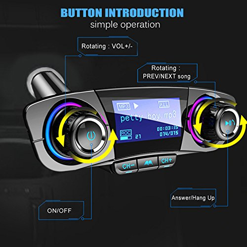 Car Charger, Bluetooth FM Transmitter Wireless In-Car FM Transmitter Radio Adapter Car Kit, Dual USB Charging Ports, Hands Free Calling for iPhone, Samsung, etc, AUX, TF Card, U Disk Play by JINSERTA (Image #2)