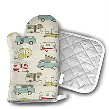 Vintage Camper Formica Xmas Oven Mitts and Pot Holders Set with Polyester Cotton Non-Slip Grip, Heat Resistant, Oven Gloves for BBQ Cooking Baking, Grilling
