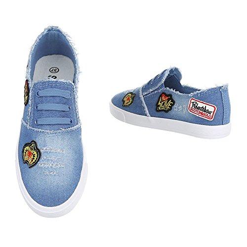 Ital-Design Low-Top Sneaker Damenschuhe Low-Top Sneakers Freizeitschuhe Blau R58