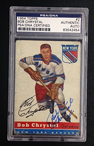 BOB CHRYSTAL SIGNED TOPPS 1954 HOCKEY #2 ROOKIE CARD Auto RC RANGERS - PSA/DNA Certified