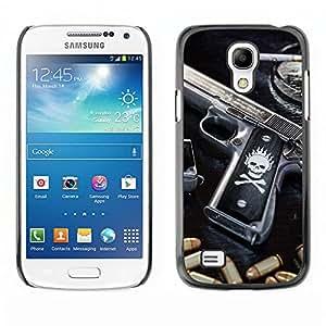 A-type Arte & diseño plástico duro Fundas Cover Cubre Hard Case Cover para Samsung Galaxy S4 Mini i9190 (NOT S4) (Cráneo Killer gangsters Pistola y puntos negros)
