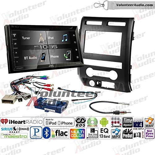 Volunteer Audio Jvc Kw V340bt Double Din Radio Install Kit With Bluetooth Sirius Xm Ready 6 2 Touchscreen Fits 2009 2010 Ford F 150 Black Retains Steering Wheel Controls
